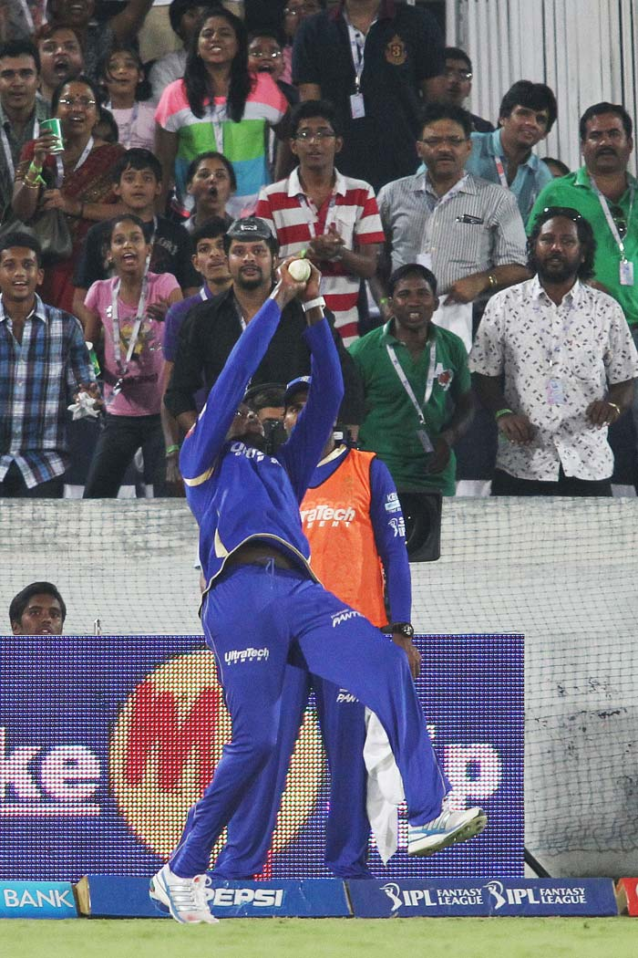 Kevon Cooper came up with an athletic effort at the deep long on boundary to end Biplab Samantray's crucial knock. Cooper had to move backwards to latch on to a tricky catch. (BCCI image)