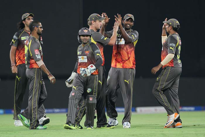In the end, Hyderabad inflicted the biggest loss in terms of runs on Rajasthan Royals this season, by 23 runs. Four Hyderabad bowlers, Dale Steyn, Thisara Perera, Amit Mishra and Karan Sharma scalped two wicket apiece to give thier side a more than realistic chance of making the playoffs. (BCCI image)