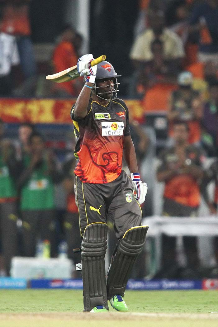 Unheralded Orissa batsman Biplab Samantray played the best knock of his IPL career, reaching a maiden fifty. The right-hander score 6 fours and a six in his 46-ball 55-run knock that set the tone for Hyderabad to reach a fighting total after they were reduced to just 8 for 3 in the third over. (BCCI image)