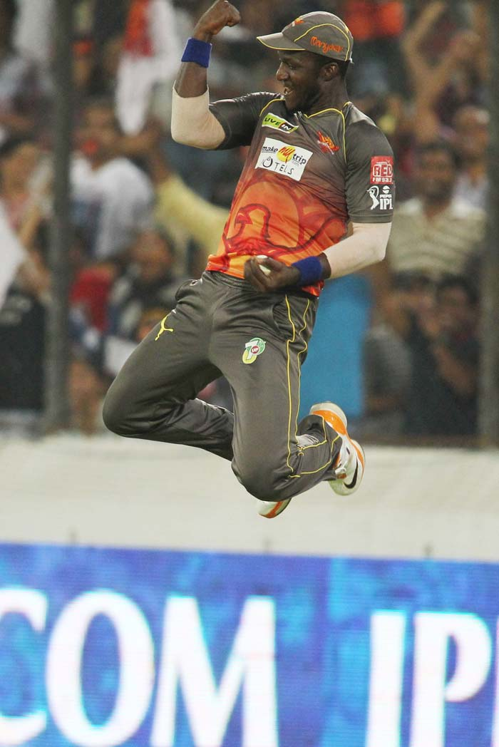 Darren Sammy took the most important catch of the match, of Shane Watson, who mistimed a lofted shot. Sammy leaped high in the air after pouching Watson, who struggled on a bowler-friendly wicket. Watson's 11 came off 20 balls and he was unable to score a single boundary. (BCCI image)