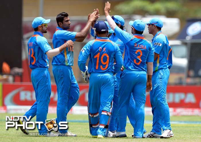Success to India came late but it did even if just once.<br><br> R Ashwin is seen celebrating the wicket of Jayawardene (107).