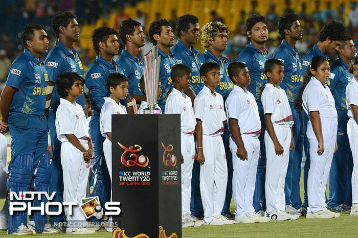 Sri Lanka thrashed Zimbabwe in the World T20 opener by a whopping 82 runs. <br> <br> National Anthems are what fans and even players always wait patiently for. The World T20 began, not like the Olympics though, but in a more sedate way as the home side took on minnows Zimbabwe in the first match. (All AFP Photos)