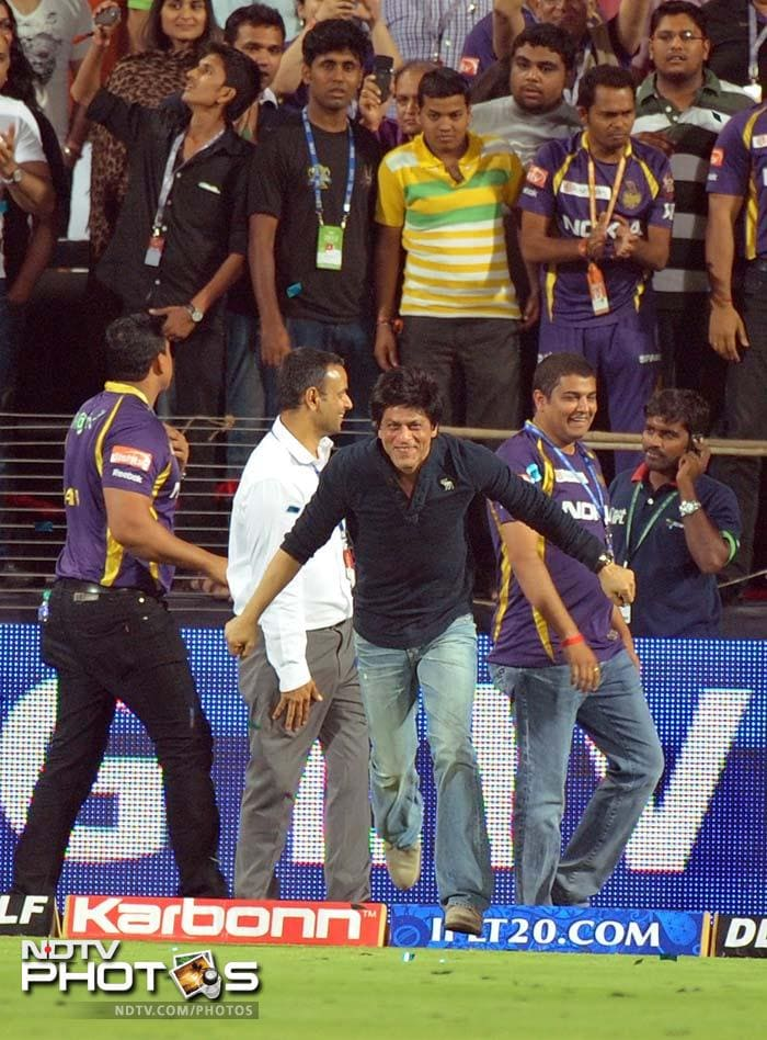 Bollywood superstar and Kolkata Knight Riders co-owner Shah Rukh Khan was ecstatic when his team beat Delhi Daredevils in the first qualifier of the Indian Premier League to make it to the final.
