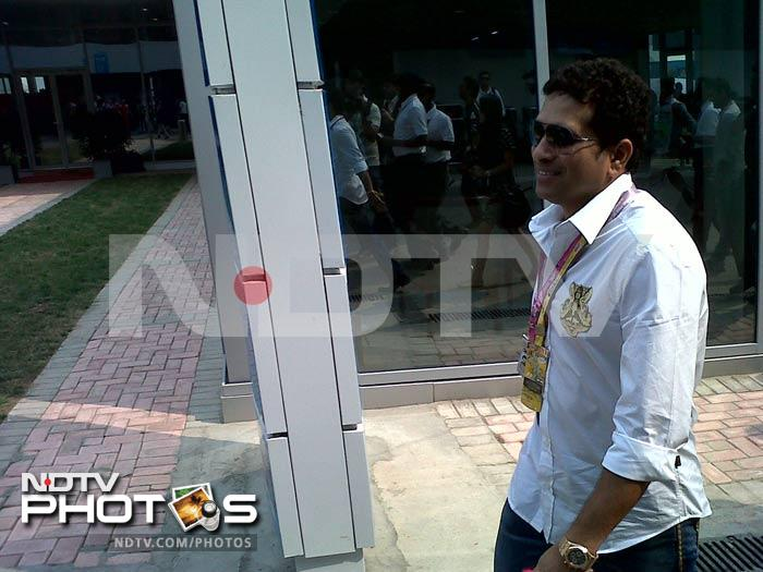 Sachin arrives for the inaugural Indian Grand Prix at the Buddh International Circuit in Greater Noida.