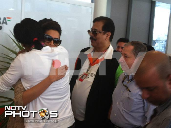 Bollywood actress Deepika Padukone is greeted by SRK at the circuit.