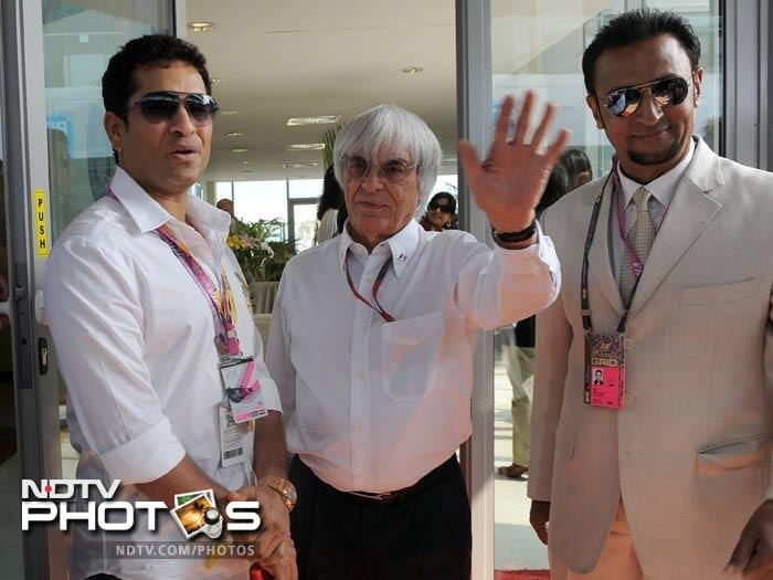 Sachin is seen here with F1 boss Bernie Eccelstone (c) and Bollywood actor Gulshan Grover.