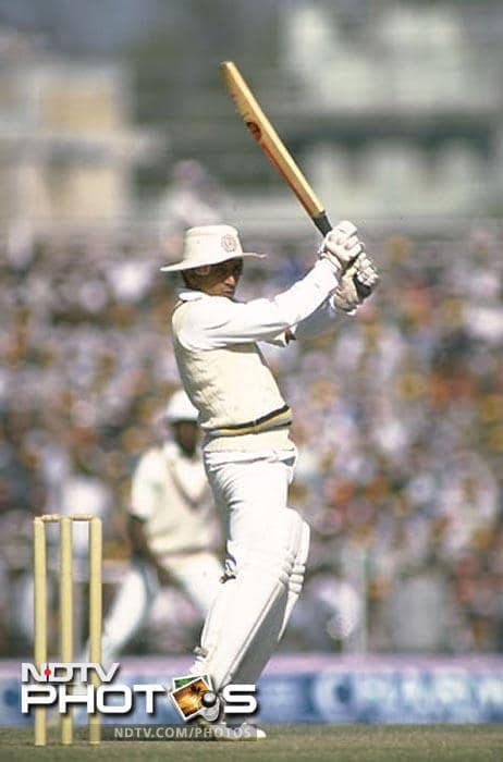 1983-84: In November '83, playing against his favourite opponent, the West Indies, Gavaskar hits his 29th Test century in 94 balls in the 2nd Test at Delhi, equalling Don Bradman's world record. He also passes 8000 Test runs in the innings, and is personally honoured at the ground by the then Prime Minister Indira Gandhi. In the next Test at Ahmedabad, he scores 90 and passes England's Geoff Boycott's Test world record of 8114 career runs.<br><br> In the 6th Test in Madras, now Chennai, he compiles his 30th Test century, becoming the leading centurion in the world, with an unbeaten 236 which is also the then highest Test score by an Indian. It is his 13th Test century and third double century against the West Indies.