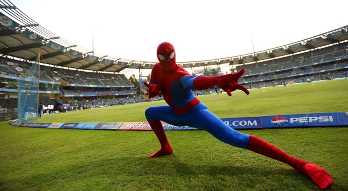 "It was truly a treat for all the ""superhero"" fans out there at the stadium to watch Spiderman in his various moods. (Image BCCI)"