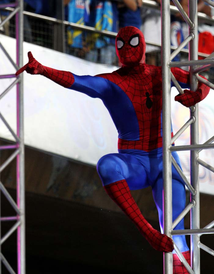 Spiderman left no stone unturned to entertain the lively audience at the Wankhede. (Image BCCI)