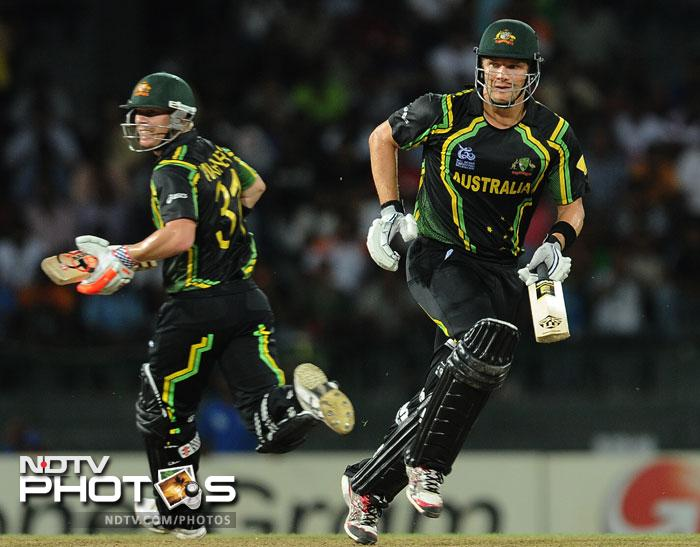 Shane Watson was the star of the match for the Aussies with a 'full of sixes' 72 and a three-for while bowling. India were no match in any area to the might of the Australians. (All AFP Photos)