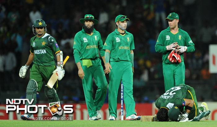 Pakistan made a meal of what could have been a canter for them, chasing a moderate 133. South Africa looked to have seal the match for large parts but the sub-continent side held on to their nerves with a couple of Umars coming to their rescue. (All AFP Photos)