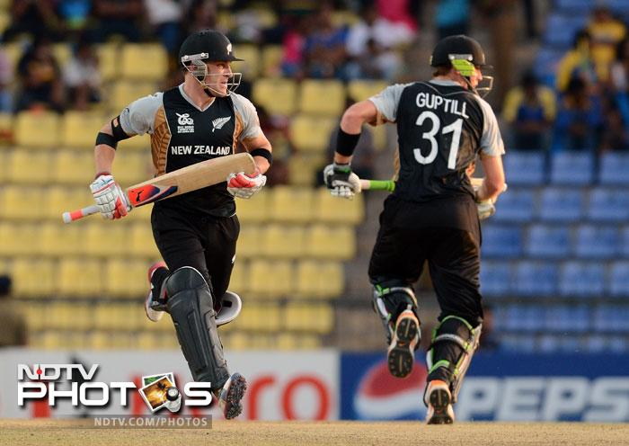 Brendon McCullum and Martin Guptill found themselves in familiar territory, carrying the mantle at the top-order for New Zealand. While Brendon was his usual self (22 off 18 balls), Guptill (21 off 27 balls) could not really find his touch. <br> <br> Both were dismissed in quick succession, McCullum bowled by Samuel Badree while Guptill caught Samuels bowled Darren Sammy.