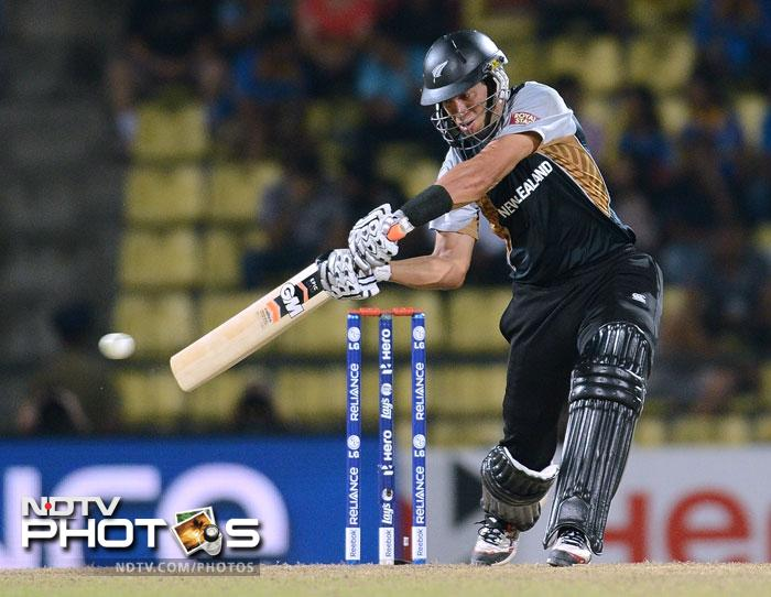 West Indies bowled first in the super over and New Zealand scored 17 runs thanks to Ross Taylor yet again who hit a boundary and a six to propel the Kiwis.