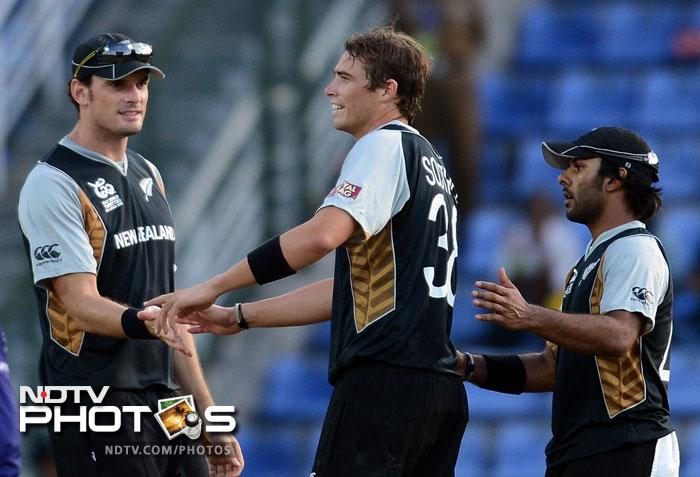 Tim Southee again bowled with extreme control and guile. He took 3/21, including wickets of Gayle and Sammy, to rattle the West Indian batting line-up.