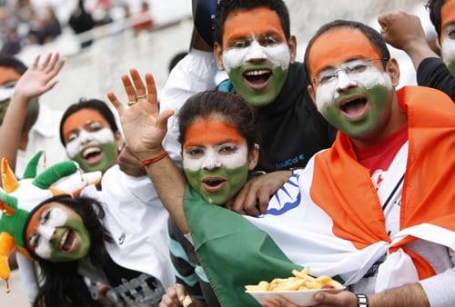 Indian fans are seen before their team's ICC World Twenty20 match against Bangladesh at Trent Bridge cricket ground, Nottingham. (AP Photo)