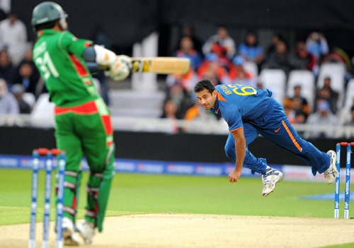 Irfan Pathan of bowls to Zunaed Siddique of during the ICC World Twenty20 match at Trent Bridge, Nottingham. (AFP Photo)