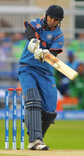 Yuvraj Singh of India scores runs during the ICC World Twenty20 match against Bangladesh at Trent Bridge, Nottingham. (AFP Photo)