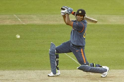 India's Ravindra Jadeja hits a shot during the Twenty20 World Cup warm-up match between India and New Zealand at Lord's cricket ground in London on Monday. (AP Photo)
