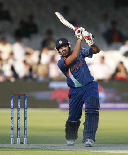 India's Rohit Sharma plays this shot for 6 runs against New Zealand during their Twenty20 match prior to the start of the ICC World Twenty20 at Lord's cricket ground in London on Monday. (AFP Photo)