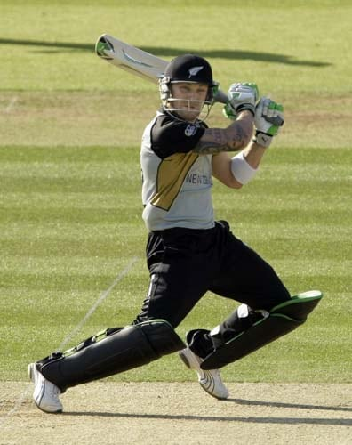 New Zealand's Brendon McCullum hits a shot during the Twenty20 World Cup cricket warm-up match between India and New Zealand at Lord's cricket ground in London on Monday. (AP Photo)