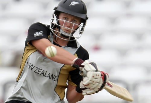 Aimee Watkins hits out against India during their ICC World Twenty20 Women's semi-final match at Trent Bridge. (AP Photo)