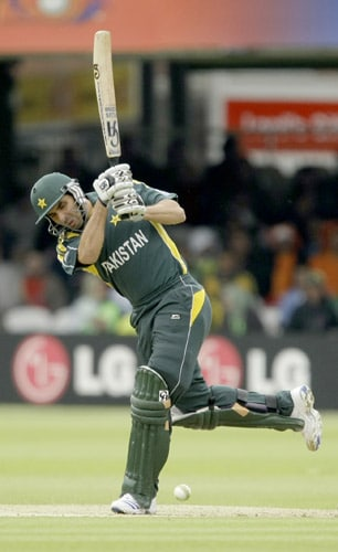 Younis Khan hits a shot during the World Twenty20 match between the Netherlands and Pakistan at Lord's in London. (AP Photo)