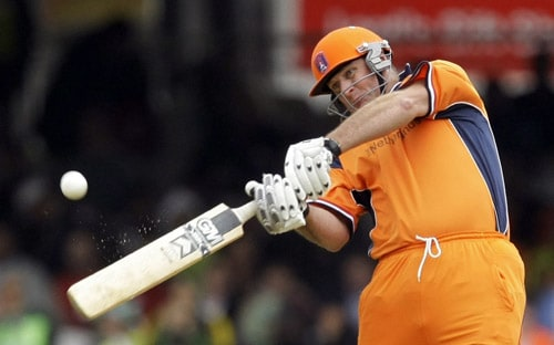 Darron Reekers hits a shot during the ICC World Twenty20 match between The Netherlands and Pakistan at Lord's in London. (AP Photo)