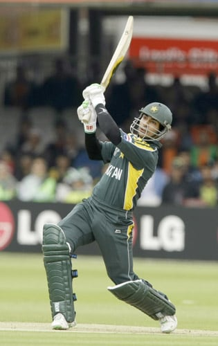 Salman Butt hits a four during the ICC World Twenty20 match between the Netherlands and Pakistan at Lord's in London. (AP Photo)
