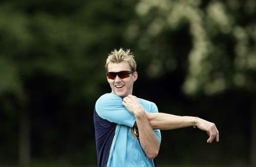 Brett Lee stretches during a training session for the Twenty20 World Cup at the Lady Bay sports ground in Nottingham, England on May 29, 2009. The tournament starts on Friday June 5. (AP Photo)