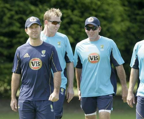 Ricky Ponting, Brett Lee and coach Tim Nielsen are seen during a training session for the Twenty20 World Cup at the Lady Bay sports ground in Nottingham, England. (AP Photo)