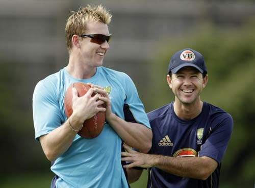 Ricky Ponting and Brett Lee take part in a training session for the Twenty20 World Cup at the Lady Bay sports ground in Nottingham, England. (AP Photo)