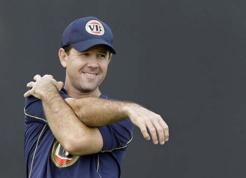 Ricky Ponting stretches during a training session for the cricket Twenty20 World Cup at the Lady Bay sports ground in Nottingham, England. (AP Photo)