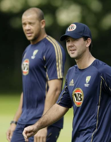 Ricky Ponting and Andrew Symonds take part in a training session for the Twenty20 World Cup at the Lady Bay sports ground in Nottingham, England. (AP Photo)