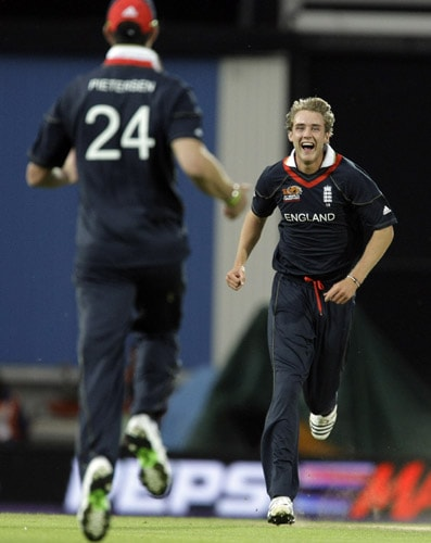 Stuart Broad celebrates taking the wicket of Salman Butt with Kevin Pietersen during ICC World Twenty20 Cup match between England and Pakistan at The Oval ground in London. (AP Photo)