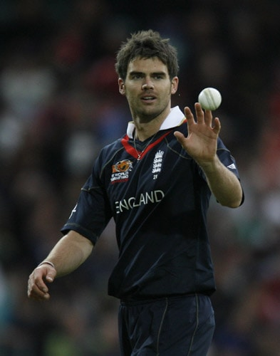 James Anderson plays against Pakistan during their ICC World Twenty20 Cup match at the Oval ground in London. (AFP Photo)