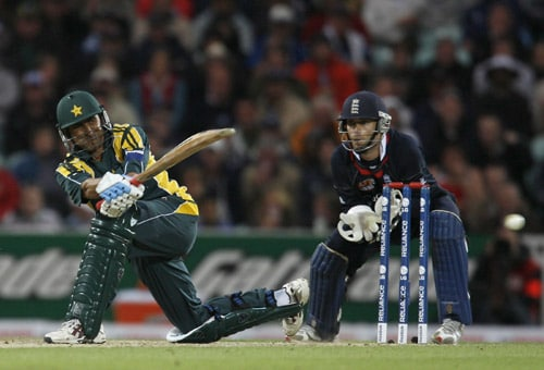 Younis Khan plays a shot watched by James Foster during their ICC World Twenty20 Cup match at the Oval ground in London. (AFP Photo)