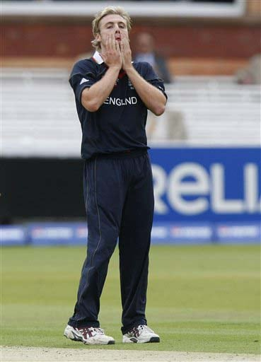 England's bowler Luke Wright reacts during their warm-up Twenty20 World Cup match against the West Indies at Lord's cricket ground in London, on Wednesday. (AP Photo)