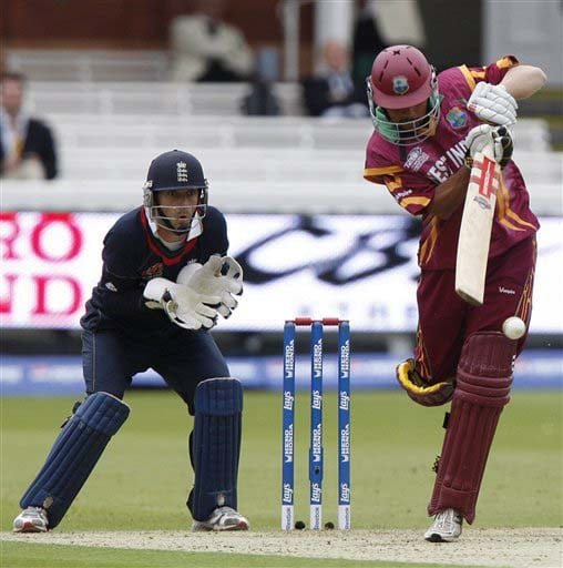 West Indies' Ramnaresh Sarwan plays a shot off the bowling of England's Graeme Swann during their warm-up Twenty20 World Cup match at Lord's cricket ground in London, on Wednesday. (AP Photo)
