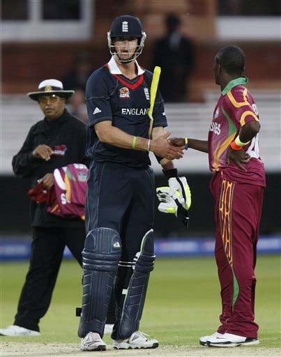 England's Kevin Pietersen mistakenly shakes hands with West Indies' Fidel Edwards one run before the end of the match during their warm-up Twenty20 World Cup match at Lord's cricket ground in London, on Wednesday. (AP Photo)