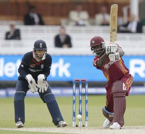 West Indies' Xavier Marshall plays a shot watched by England's James Foster during their Twenty20 match prior to the start of the ICC World Twenty20 at Lord's cricket ground in London, on Wednesday. (AFP Photo)