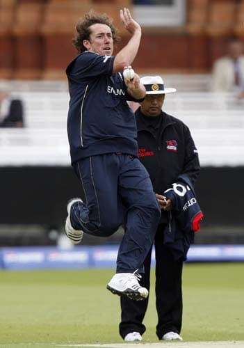 England's Ryan Sidebottom bowls against the West Indies during their warm-up Twenty20 World Cup match at Lord's cricket ground in London, on Wednesday. (AP Photo)