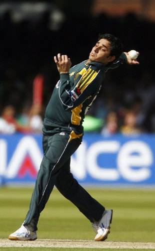Saeed Ajmal bowls against Sri Lanka during the ICC World Twenty20 final at Lord's. (AFP Photo)