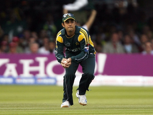 Saeed Ajmal catches the wicket of Chamara Silva during the ICC World Twenty20 final at Lord's. (AFP Photo)