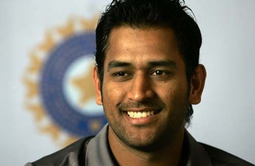 MS Dhoni looks on during a press conference before leaving for England for the Twenty20 World Cup tournament.