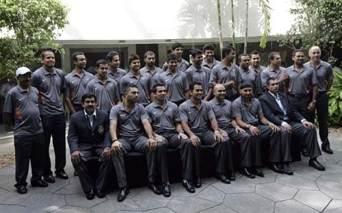 The Indian cricket team poses for the media before leaving for England for the Twenty20 World Cup tournament. (AP Photo)