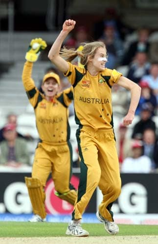 Ellyse Perry and Jodie Fields combine to take the wicket of Charlotte Edwards during their ICC World Twenty20 womens' semi-final match at the Oval. (AP Photo)