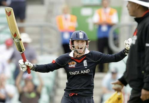 Beth Morgan celebrates hitting the winning runs during the ICC World Twenty20 womens' semi-final match between England and Australia at The Oval. (AP Photo)