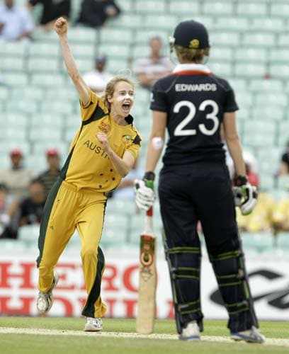Ellyse Perry reacts after taking the wicket of Charlotte Edwards during the ICC World Twenty20 womens' semi-final match between England and Australia at The Oval. (AP Photo)