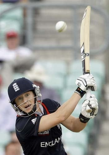 Claire Taylor hits a shot during the ICC World Twenty20 womens' semi-final match between England and Australia at The Oval. (AP Photo