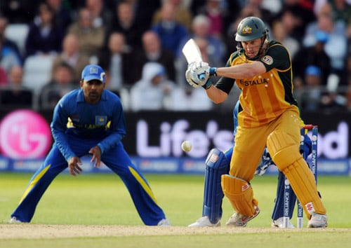 David Hussey faces a Sri Lanka ball during the World Twenty20 match at Trent Bridge in Nottingham. (AFP Photo)